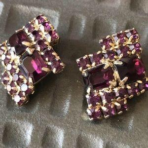 Vintage Purple Rhinestone Earrings Clipon
